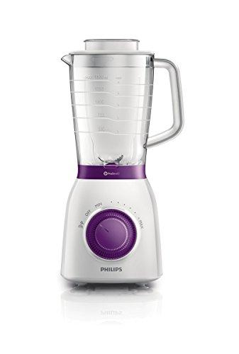 Philips Viva Collection - Batidora, 600 W, jarra resistente, 2 l, 2 velocidades, color blanco y violeta