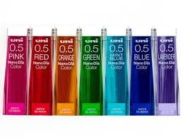 Uni NanoDia Color Mechanical Pencil Leads 0.5mm 7 Color Set, 7 Pack/total 140 Leads