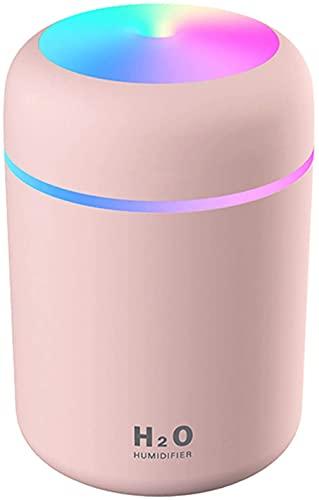 Luftbefeuchter, Mini USB Ultraschall Humidifier mit 300ml Wassertank, Automatische Abschaltung und Super leise, Bunter Cooler Nachtlichtfunktion für Auto, Büroraum, Schlafzimmer (Rosa)