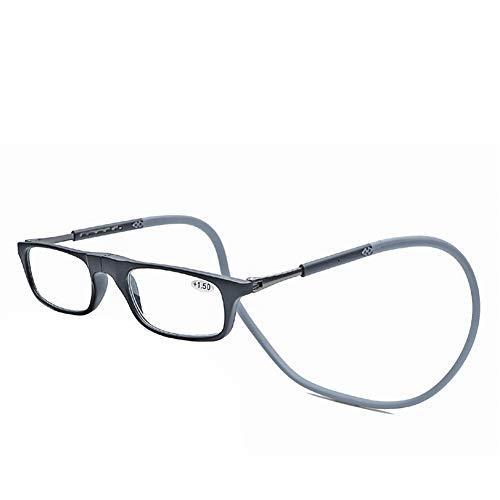 Lesebrille Lesehilfe für Herren und Damen Presbyopie mit Magnetverschluss und Clip Faltbare Einstellbare für Alterssichtigkeit Brillen mit Stärke für PC Handy Faltbare