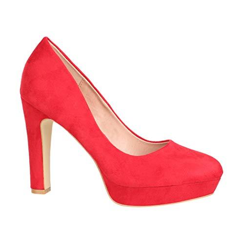 Elara - Tacones altos para mujer, color Rojo, talla 39.5 EU