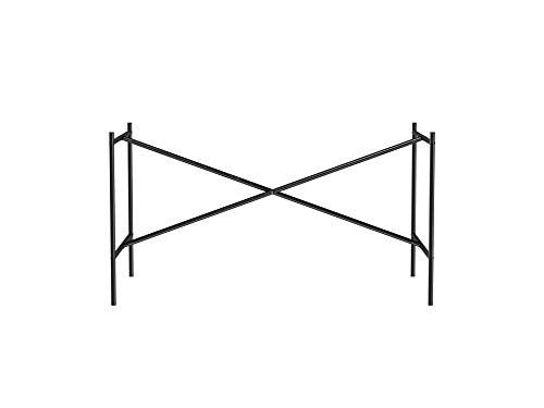 Tischgestell E2, idealer Arbeitstisch oder Zeichentisch (72 x 78 x 135 cm) mit versetzter Kreuzstrebe, Unterbau ohne Tischplatte für Schreibtisch, schwarz