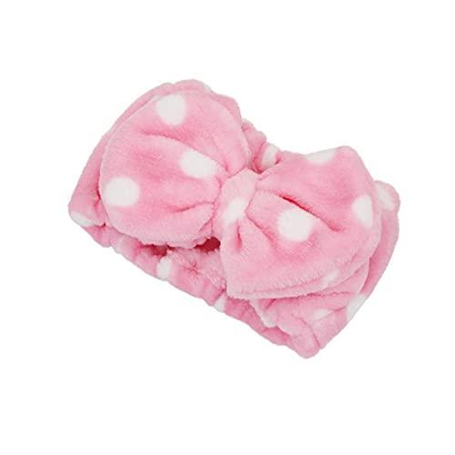 Banda de pelo del Bowknot elástico suave franela abrigo de pelo de la venda Maquillaje lavado de cara ducha diadema para Mujeres Niñas conveniente linda de la ducha venda rosa, joyería y accesorios