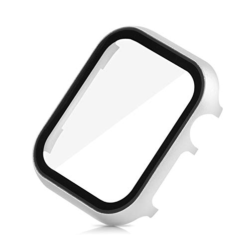 LGFCOK Screen Protector Case für Apple Watch SE 40mm 44mm 38mm 42mm Metallabdeckung Serie 6 5 4 3 Stoßfänger mit 3D gehärtetem Glasfilmschale (Color : Silver, Dial Diameter : 44mm)