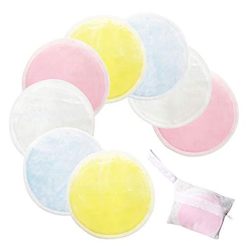Hilai Tampons de dissolvant de maquillage coton bambou 8pack organiques tampons de démaquillant réutilisables lingettes rondes soins de la peau laver chiffons en microfibre ronds sac de voyage inclus