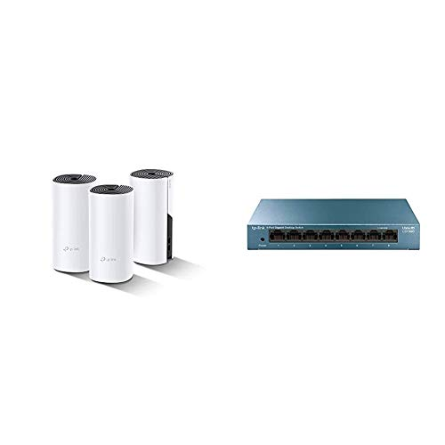 TP-Link WiFi Mesh y PLC AV1000, Óptimo para Casas Grandes con Paredes Gruesas, WiFi Estable + LS108G - Switch 8 Puertos (10/100/1000) Switch ethernet, Switch gigabit, Carcasa metálica