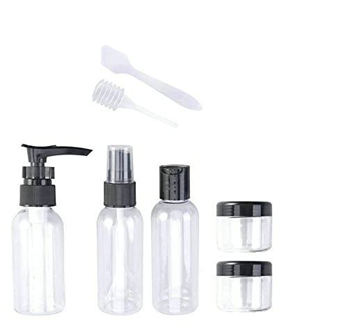Set Flaconcini da Viaggio, Bottigliette da Viaggio Set 7 pezzi per Aereo (Max.50ml) Contenitori Portabile per Cosmetici, Porta Liquidi e Creme Cosmetiche Shampoo