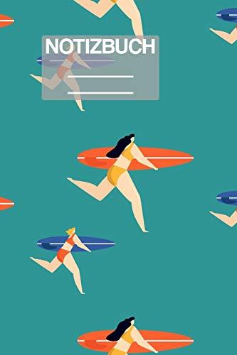 Notizbuch A5 Muster Zeichnung Surf Surfing Frauen Frau Girl Women Surfer: • 111 Seiten  • EXTRA Kalender 2020 •  Einzigartig •  Kariert •  Karo •  Raster  • Geschenk • Geschenkidee