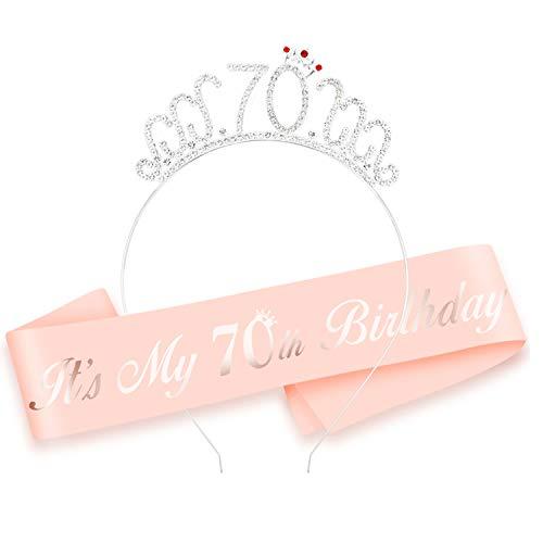 HOWAF 70 Anni Compleanno Fascia, It's My 70 Birthday Satin Sash e Compleanno 70 Tiara cerchietti per Oro Rosa 70 Anni Compleanno Decorazioni Donna Regalo di Compleanno