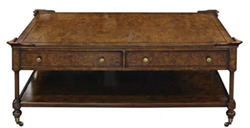 Casa Padrino Jugendstil Couchtisch Braun 125 x 81 x H. 48 cm - Wohnzimmertisch mit Rollen und 2 Schubladen