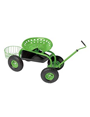 Deluxe Garden Tractor Scoot Cart Rolling Scooter with Handle, Swivel Seat & Tool Tray, Basket