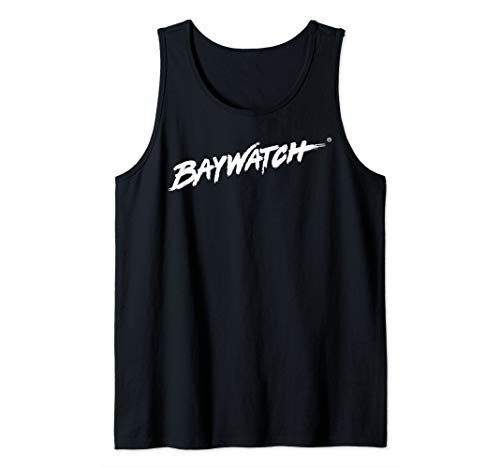 Baywatch Classic White Logo on Black Tank Top, Many Colors for Male and Female