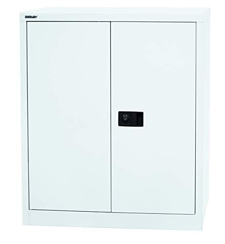 BISLEY Aktenschrank | Werkzeugschrank | Flügeltürenschrank aus Metall abschließbar inkl. Einlegeboden | Stahlschrank in weiß