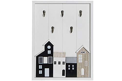 MoiR Organizador de Madera Casas Natural Blanco con Colgador de 5 Llaves y Mascarilla Multiuso para Pared Decorativo para Hogar Recibidor Dormitorio Cuarto de Estar - Medidas: 30x40x4cm.