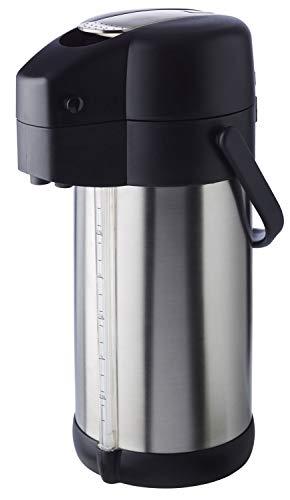 """APS Pump-Isolierkanne """"Premium"""" – doppelwandige Kanne aus mattiertem Edelstahl mit Tragegriff und Füllstandsanzeige – für heiße und kalte Getränke – Pumpmechanismus ist leicht zu reinigen"""