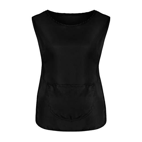 YXIU Chaleco de mujer con cuello en O, con botones de trabajo, para la cocina, ropa de trabajo, uniformes, cuidados, chaleco con cordones, camisa casaca Negro M