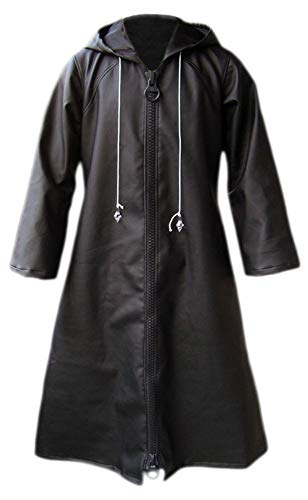 CHIUS Cosplay Costume Leather Cloak for Organization XIII Young Xehanort Ver 1 Black