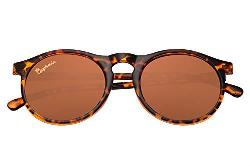 Capraia Arilla Clásicas Redondas Vintage Gafas de Sol Ultra Ligeras TR90 Montura Brillante Leopardo y Lentes Marrones Polarizadas protección UV400 Hombres Mujeres
