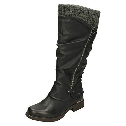 Rieker Strick Damen Lange Wasserfeste Stiefel 37 EU Schwarz