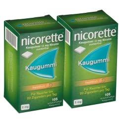 Nicorette 2 mg Freshfruit Kaugummis Sparset 2x105 Kaugummis