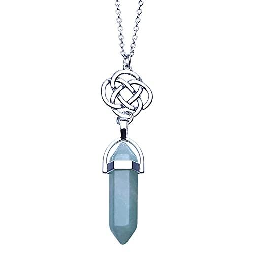 Collar de loto de cristal hexagonal natural SMEJS, collar con colgante de cristal puntiagudo retro y elegante para mujer