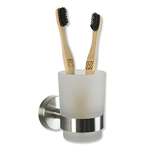 Soporte para cepillos de dientes sin taladrar, de acero inoxidable y vaso...