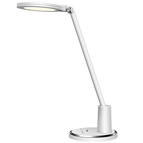 ANTELA Lámpara de mesa LED de 12 W, cuidado de los ojos, 64 piezas, LED, moderna, para oficina, táctil, 10 niveles de brillo para leer, relajarse y dormir (color blanco)