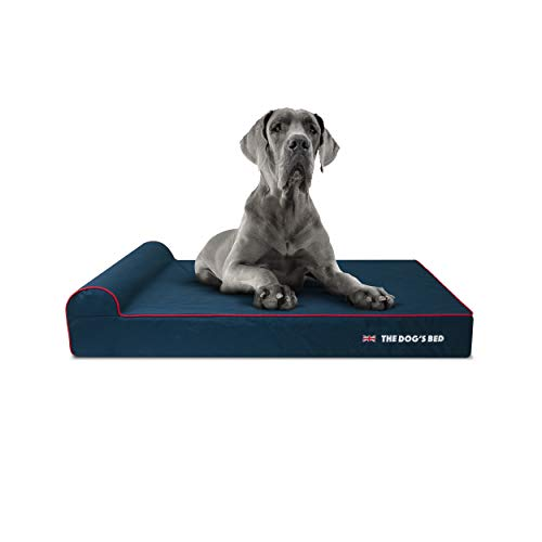 The Dog's Bed Orthopaedic Dog Bed Heritage Collection XXL Blue/Red Waterproof Memory Foam Dog Bed