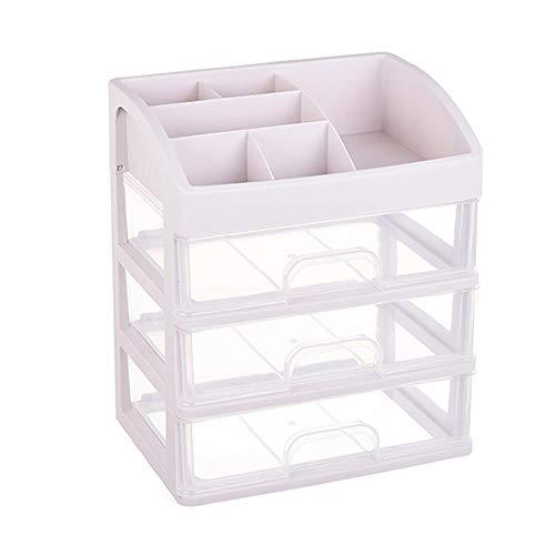 luckiner 1 pc cosmético caja de almacenamiento de 3 capas de plástico a prueba de polvo caja de gran tamaño dormitorio acabado de escritorio divisor