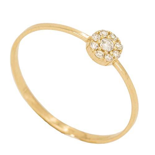 PRIORITY Anillo Oro 18K con círculo engastado en circonitas Oro Amarillo | Joya Mujer | Oro 18 kilates | Anillo para Enamorados | Anillo Parejas | Anillo con círculo | Anillo para Regalar | Talla 19