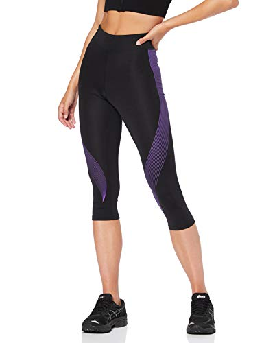 Marca Amazon - AURIQUE Mallas de Deporte Capri Estampadas Mujer, Negro (Black/Dahlia Purple), 36, Label:XS