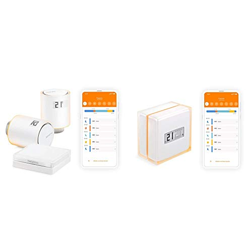 Netatmo Starter Pack Válvulas Wifi Inteligentes para Radiador, Paquete para calefacción colectiva, NVP-ES + NTH01-ES-EC Termostato Wi-fi Inteligente para Caldera Individual