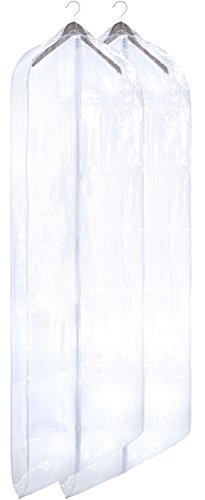 Clear Vinyl Gown Bag - Protect Your Clothing While Traveling and Dust Free While Hanging in Your Closet. These Garment Bags are Ideal for Coats, Suits, Dresses or Gowns - Set of 2 (24 X 65 Inches)
