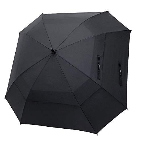 Zomake Regenschirm, winddicht, 162,68 cm, großer Regenschirm für Regen, Doppelbaldachin, automatisch, offen, belüftet, Stockschirme, Quadratisch, Schwarz, 62 Inch