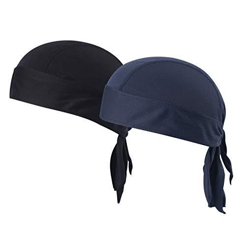 Doo Rags Skull Cap - Moisture Wicking Beanie Cap Sun UV Protection Motorcycle Helmet Liner Cap (Black + Dark Blue)