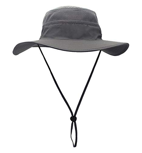 Duakrs Unisex Wide Brim Sun Hat,Outdoor UPF 50+ Waterproof Boonie Hat Summer UV Protection Sun Caps (Gray)