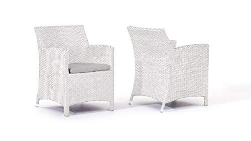 talfa Polyrattan Stuhl Set in Weiß satiniert - Mulee, 2 Stück