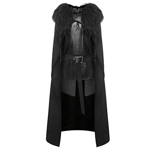 Upretty Jon Snow Kostüm Herren Halloween Cosplay Nacht Sehen Umhang Mantel Outfit