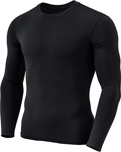 TSLA Men's Thermal Long Sleeve Compression Shirts, Athletic Base Layer Top, Winter Gear Running T-Shirt, Thermal Basic Black, Small