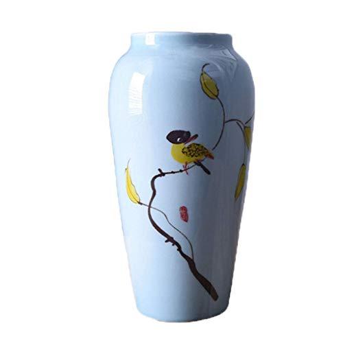 ZYING Decoración de Acento Florero Redondo de cerámica Azul Claro - Florero - Titular de Flores moteadas de Granja Moderna for decoración de hogar y Oficina