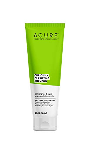 ACURE Curiously Clarifying Shampoo, Lemongrass & Argan, 100% Vegan, Performance Driven Hair Care, Gently Cleanses, Removes Buildup, Boost Shine & Replenishes Moisture, 8 Fl Oz
