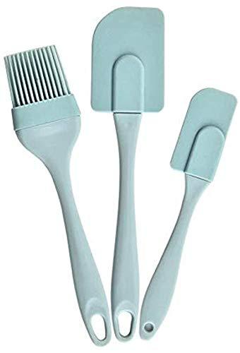 LINKLANK Juego de 3 brochas de silicona para hornear, juego de 3 espátulas de silicona para crema, ideal para el hogar, cocina, hacer manualidades y hornear (azul)