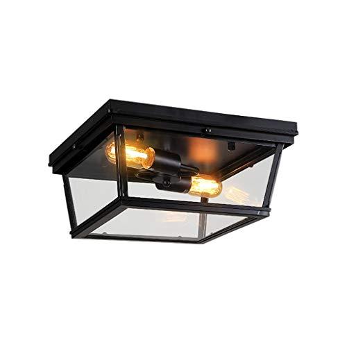 GPZ-iluminación de techo Luz de techo, almacén industrial de hierro forjado Semi-incrustado Luz de techo, Pasillo Pasillo Cocina Garaje Porche, E26 Simple Estudio Dormitorio Hierro Lámpara de techo de