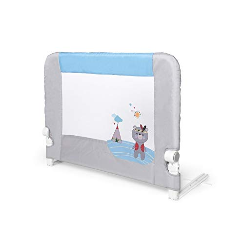 Interbaby - Barandilla Anticaídas Abatible Para Camas Infantiles - 90 Cm - Osito Azul, 2600 g, AZBR002-01