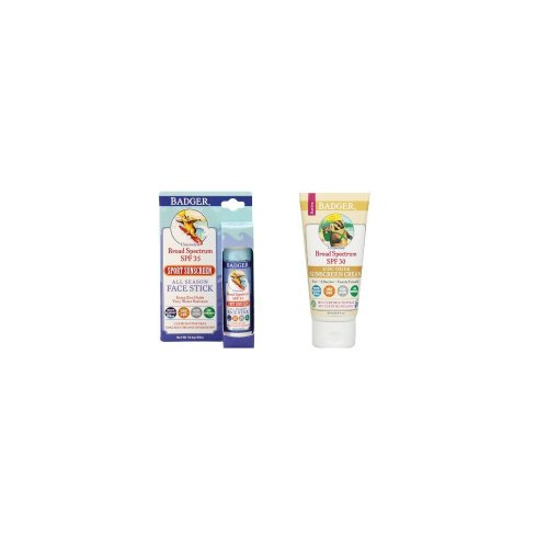 Badger SPF30 Sunscreen (2.9 oz) and Badger SPF 35 Sport Sunscreen Face Stick (.65 oz)
