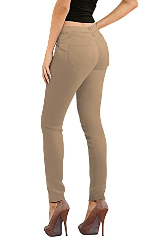 Women's Butt Lift Stretch Denim Jeans P37373SK Khaki 9