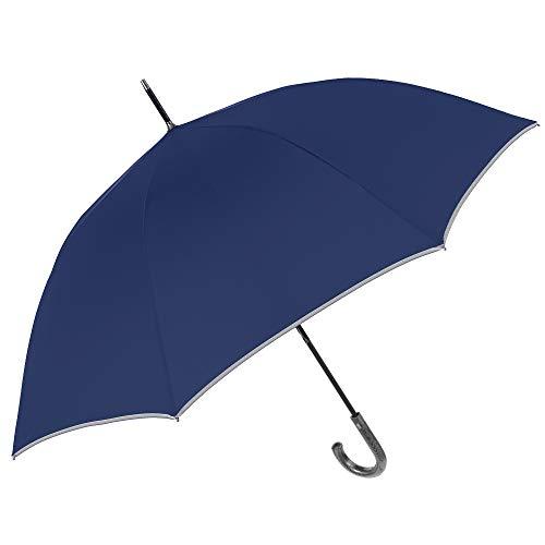 PERLETTI Ombrello Blu CATARIFRANGENTE Lungo Golf Uomo Donna Automatico - Ombrello Classico Grande XL Riflettente 2 Persone Antivento Resistente Robusto in Fibra di Vetro Elegante (Manico Curvo)