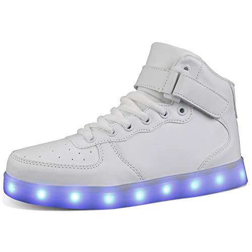 MILEADER Unisex LED Shoes White Girls Boys Light Up Shoes High Top Breathable Sneakers for Women Men Size 10.5 Women 8.5 Men
