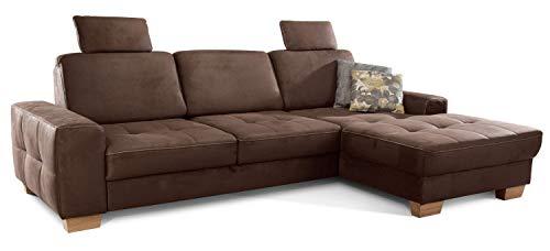 Cavadore Ecksofa Puccino mit Federkern, Bettfunktion, verstellbarer Rückenlehne und 2 Kopfstützen, Couch in L-Form im Landhausstil, 281 x 86 x 178 cm, Mikrofaser braun