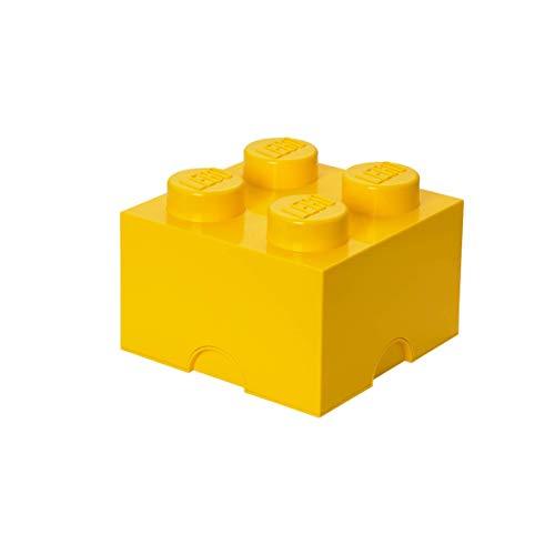 LEGO Aufbewahrungsstein, 4 Noppen, Stapelbare Aufbewahrungsbox, 5,7 l, gelb